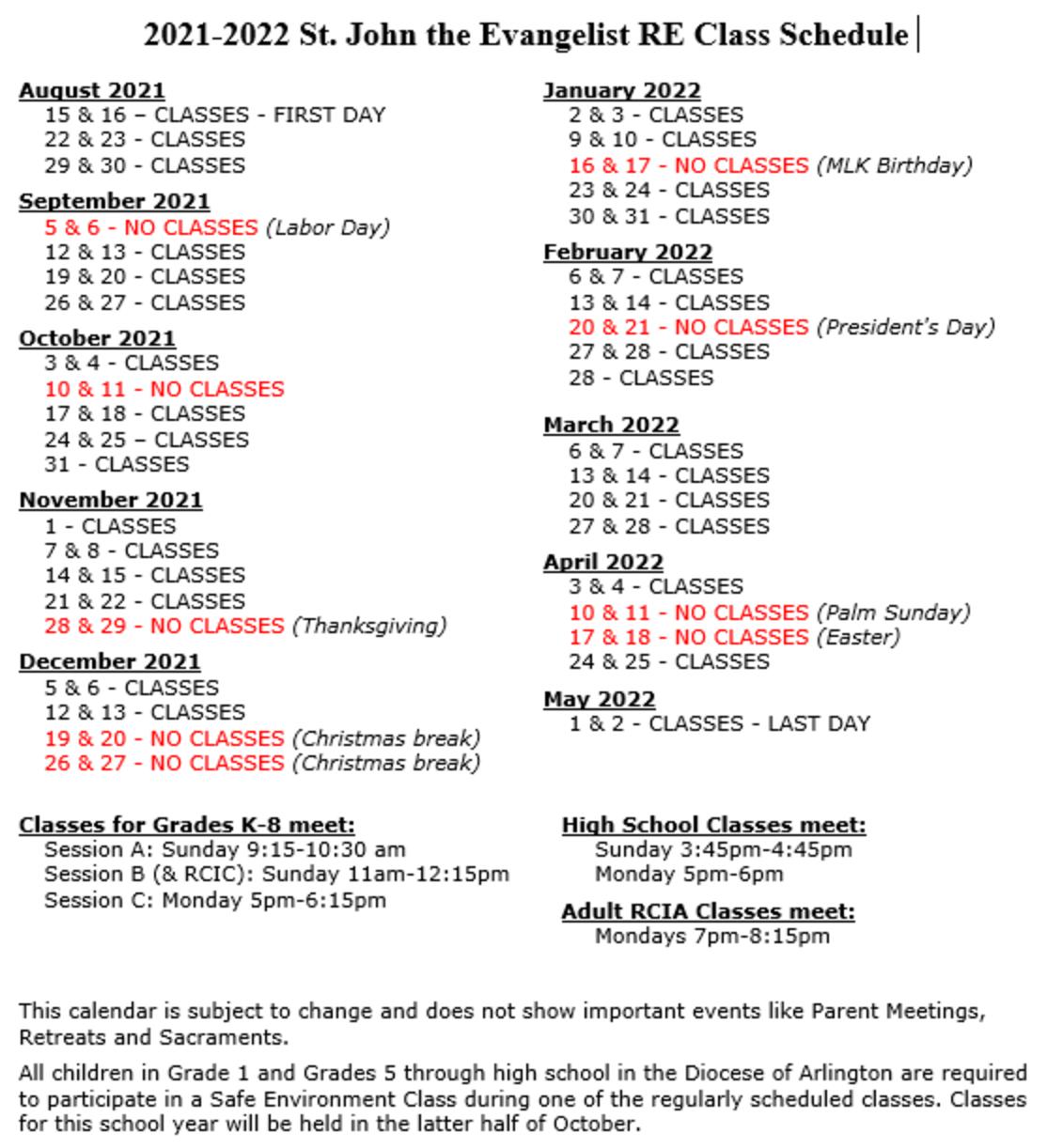 SJE RE 2021 2022 Class Calendar