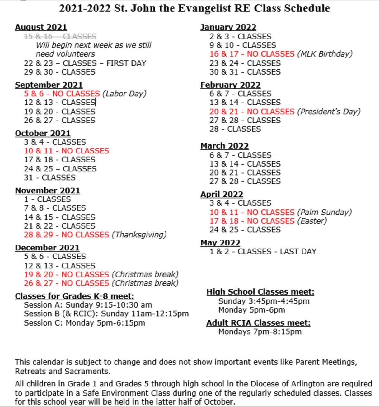 Sje Re 2021 2022 Class Calendar Updated